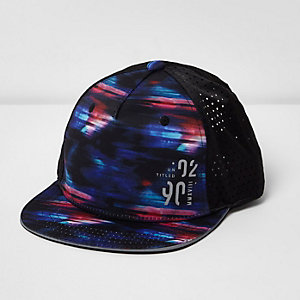 Boys blue glitch flat peak cap