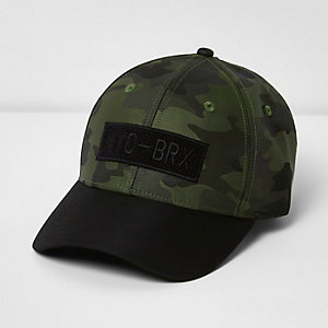 Boys green camo print baseball cap