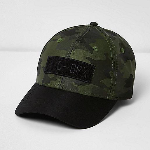 Boys green camo print baseball cap
