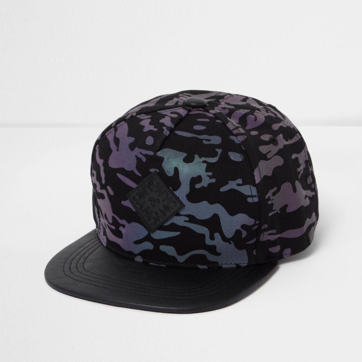 Boys black iridescent camo flat peak cap