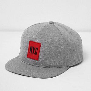 Boys grey jersey 'NYC' flat peak cap