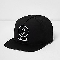 Boys black 'focus' embroidered flat peak cap