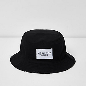 Boys black reversible bucket hat