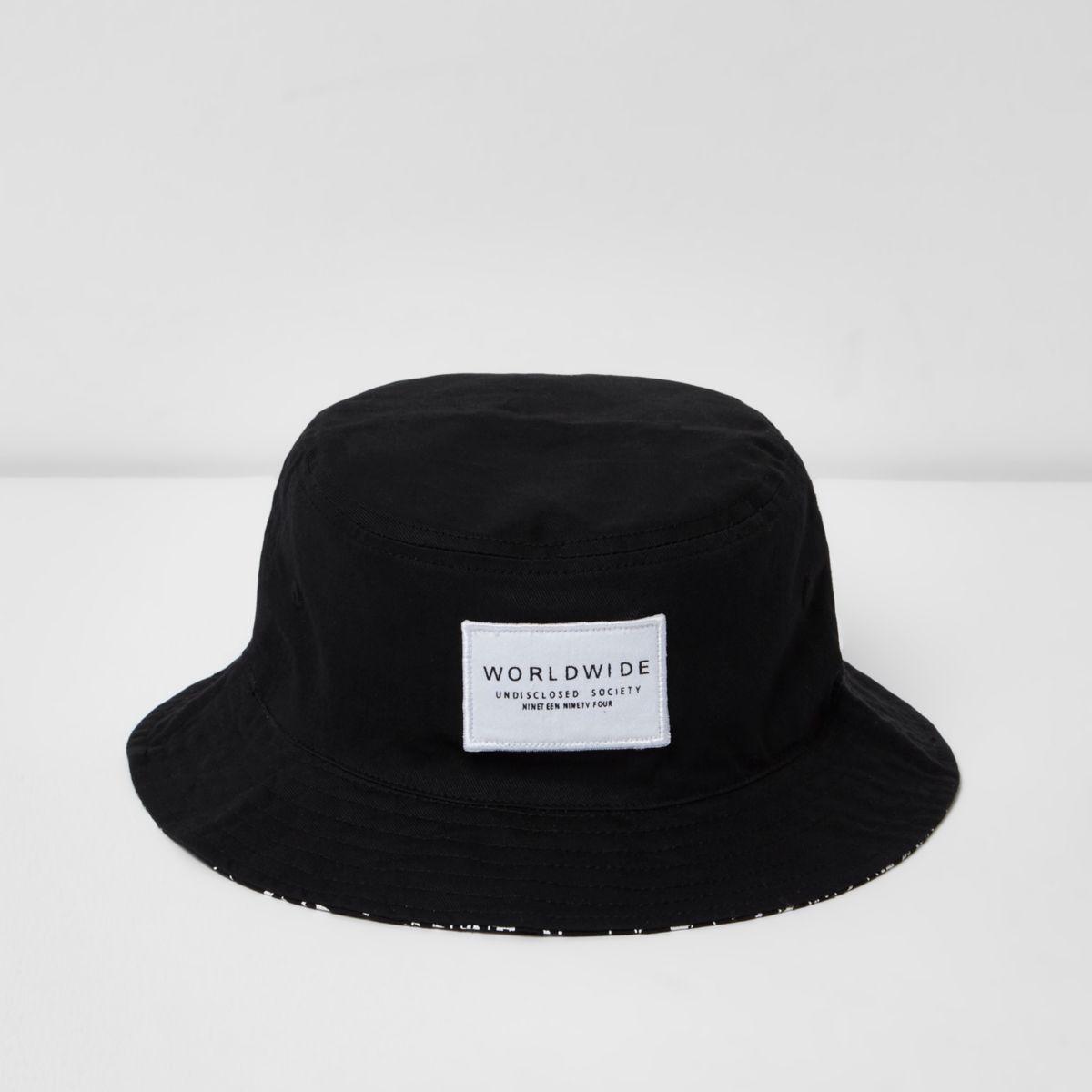 Boys black reversible bucket hat