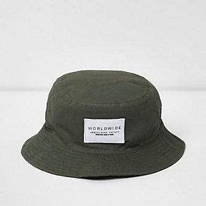 Boys khaki green reversible bucket hat