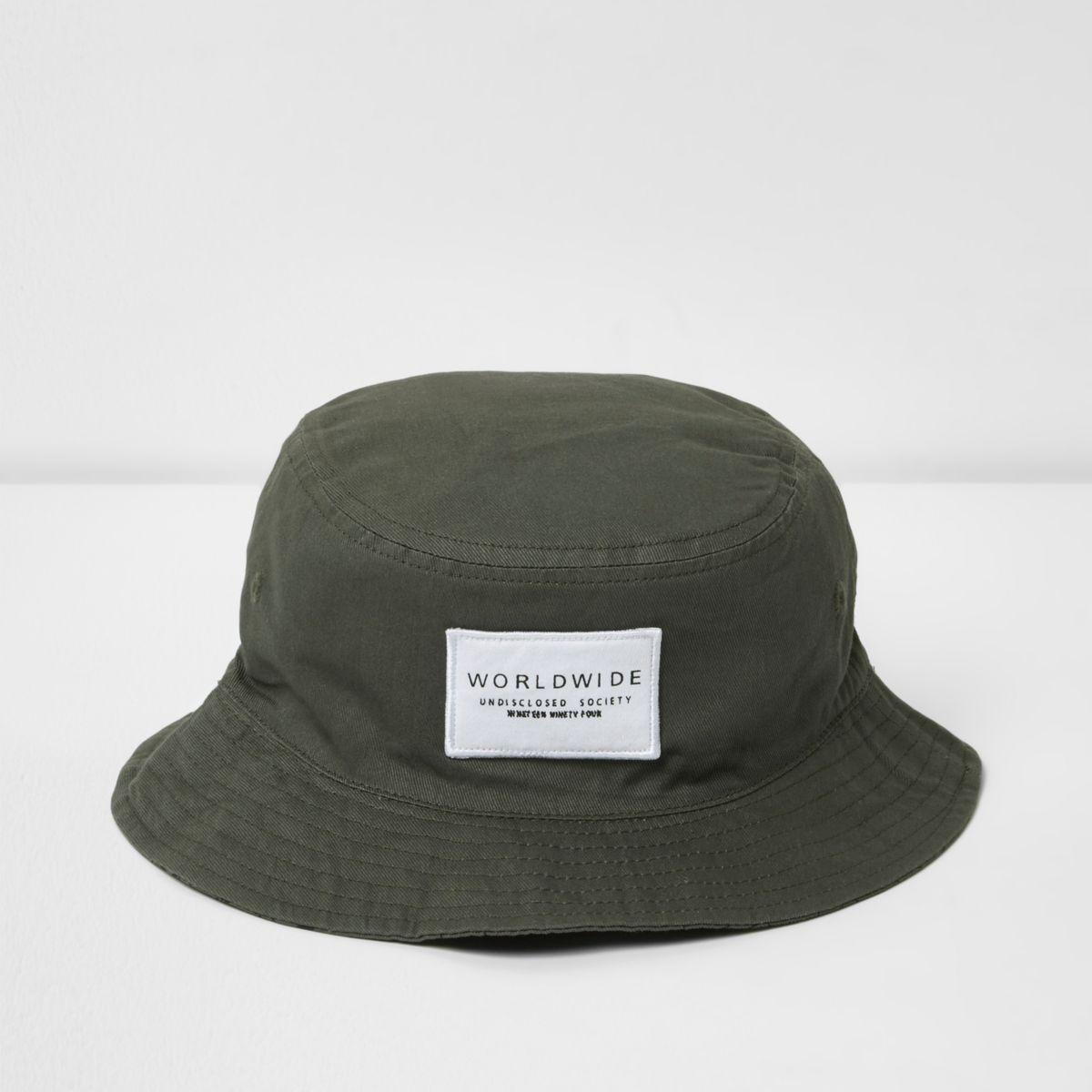 Boys khaki green reversible bucket hat
