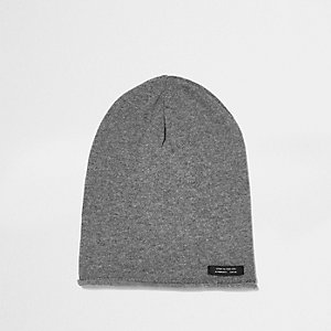Boys washed grey slouch beanie hat