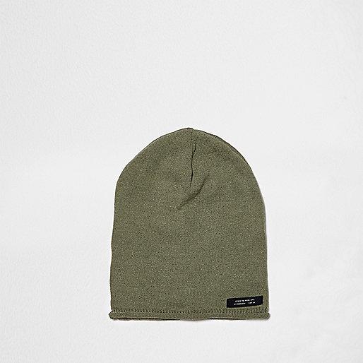 Boys khaki green washed slouch beanie hat