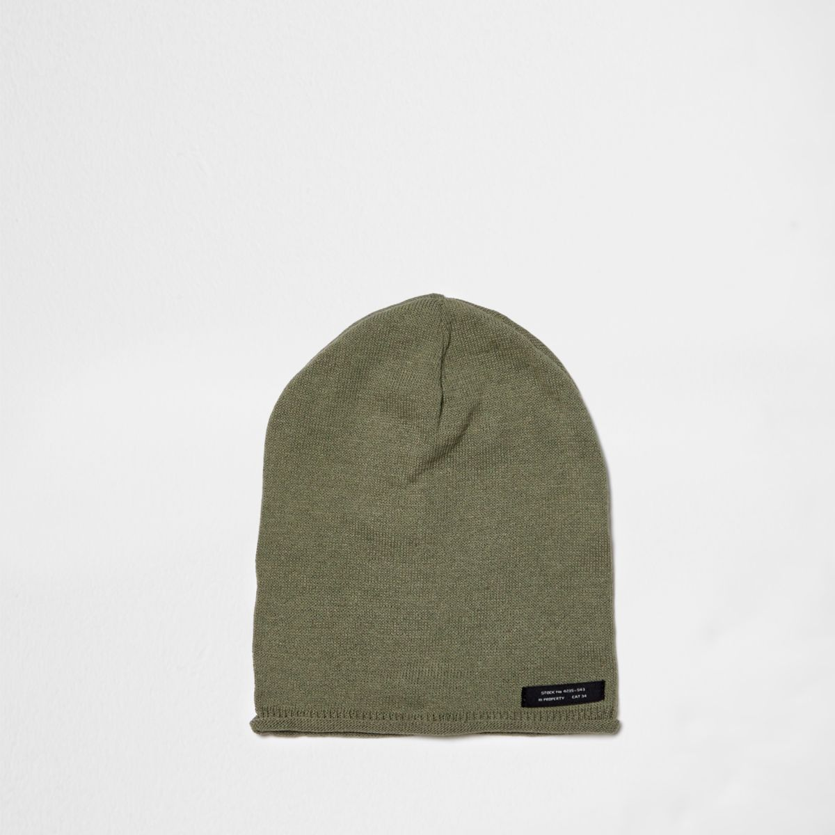 Boys khaki green washed slouch beanie hat