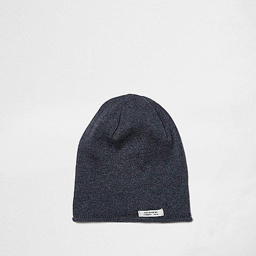 Boys blue washed slouch beanie hat