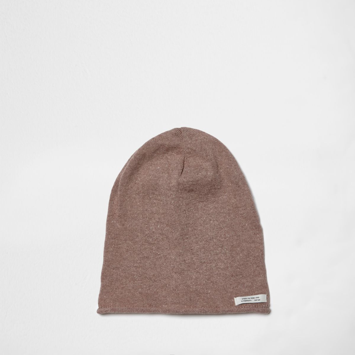 Boys pink washed slouch beanie hat