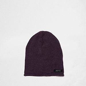 Boys purple washed slouch beanie hat