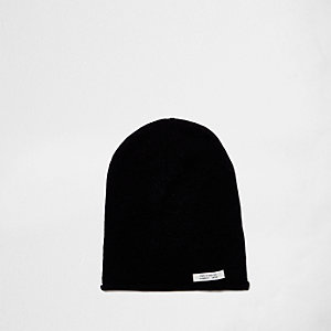Boys black washed slouch beanie hat