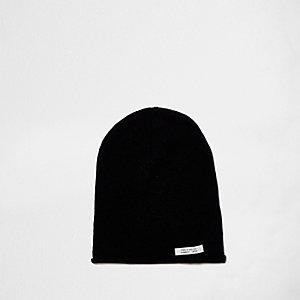 Zwarte washed nonchalante beanie-muts voor jongens