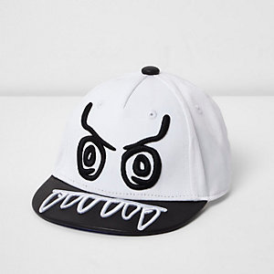 Mini boys white monster flat peak cap