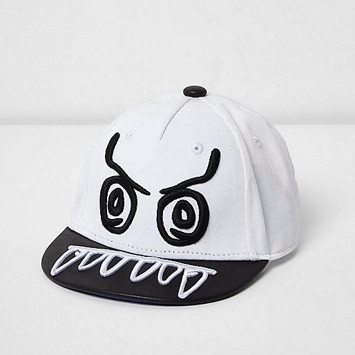 Mini boys white monster flat peak cap