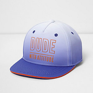 Mini boys blue ombre 'dude with attitude' cap