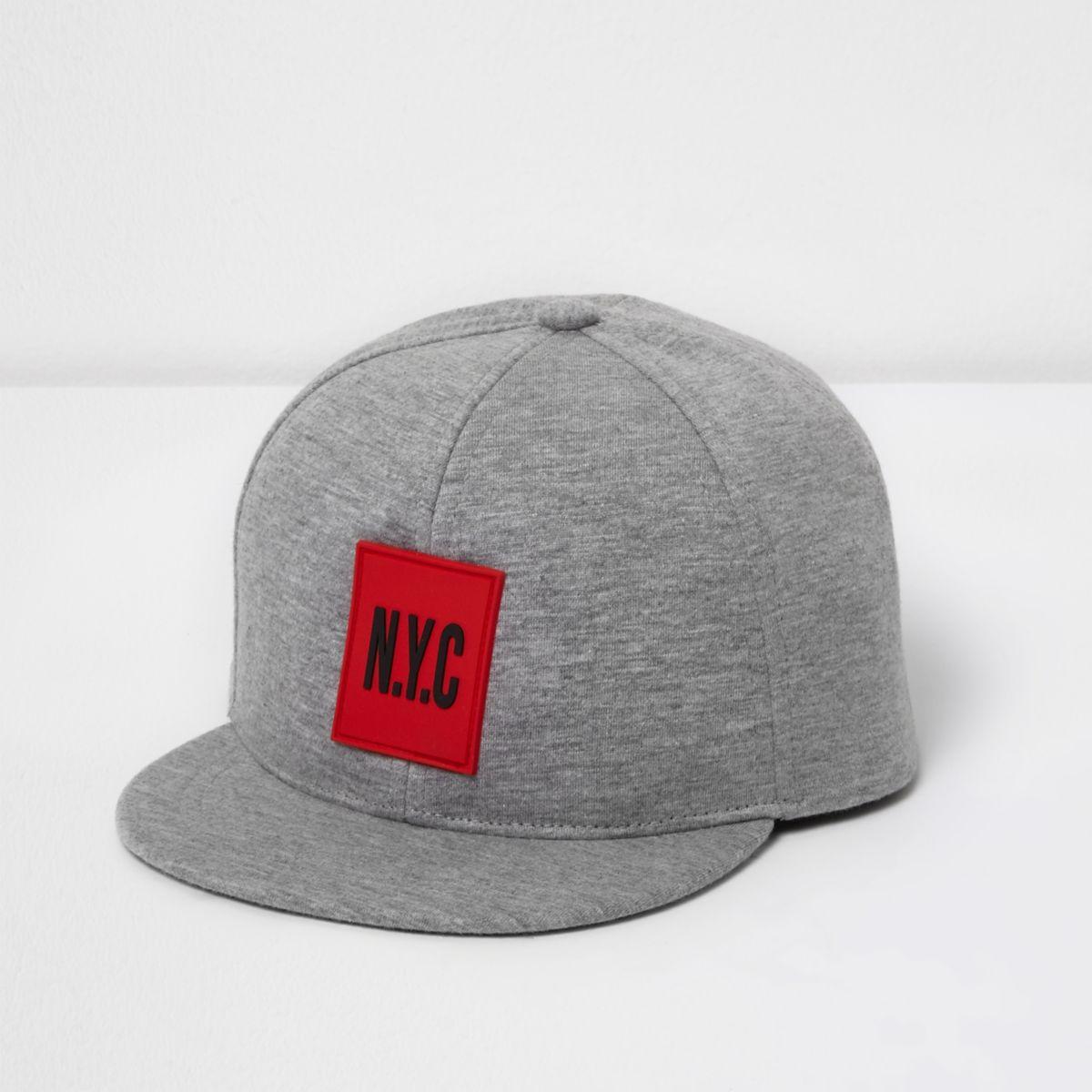 Mini boys grey jersey 'NYC' flat peak cap
