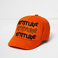 Mini boys orange 'attitude' baseball cap
