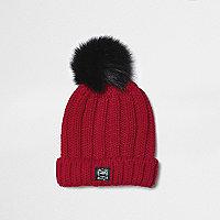 Mini boys red pom pom rib knit beanie hat