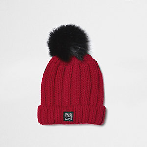 Boys red pom pom rib knit beanie hat