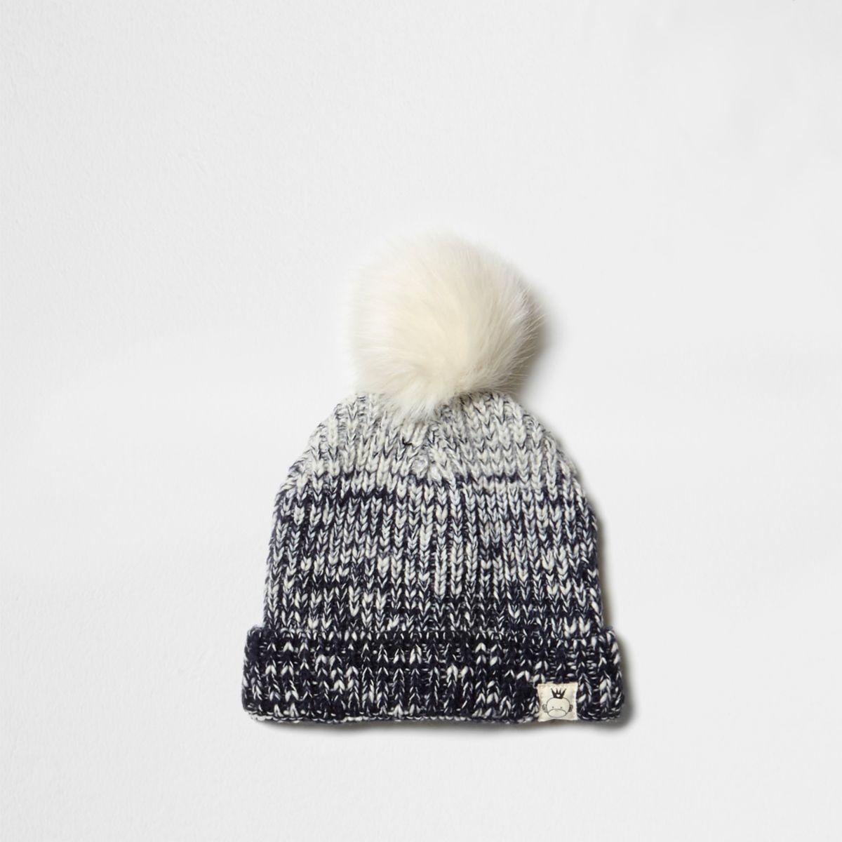 Mini boys ombre navy pom pom beanie hat