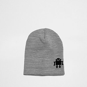 Mini boys grey knit robot slouch beanie hat