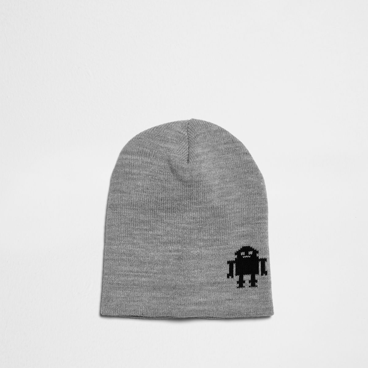 Mini boys grey knit robot slouch beanie hat