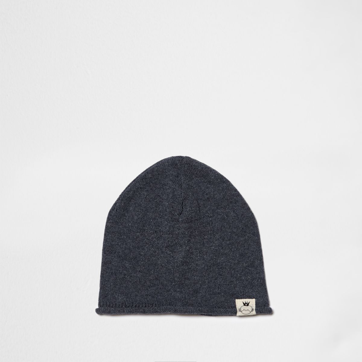 Mini boys blue washed knit slouch beanie hat