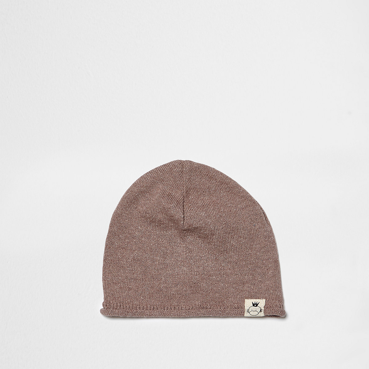 Mini boys pink washed knit slouch beanie hat