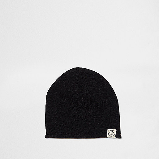 Mini boys black washed knit slouch beanie hat