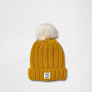 Mini boys yellow rib knit pom pom beanie hat