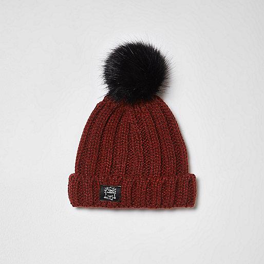 Mini boys red rib knit pom pom beanie hat