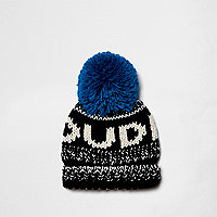 Mini boys blue 'dude' bobble beanie hat