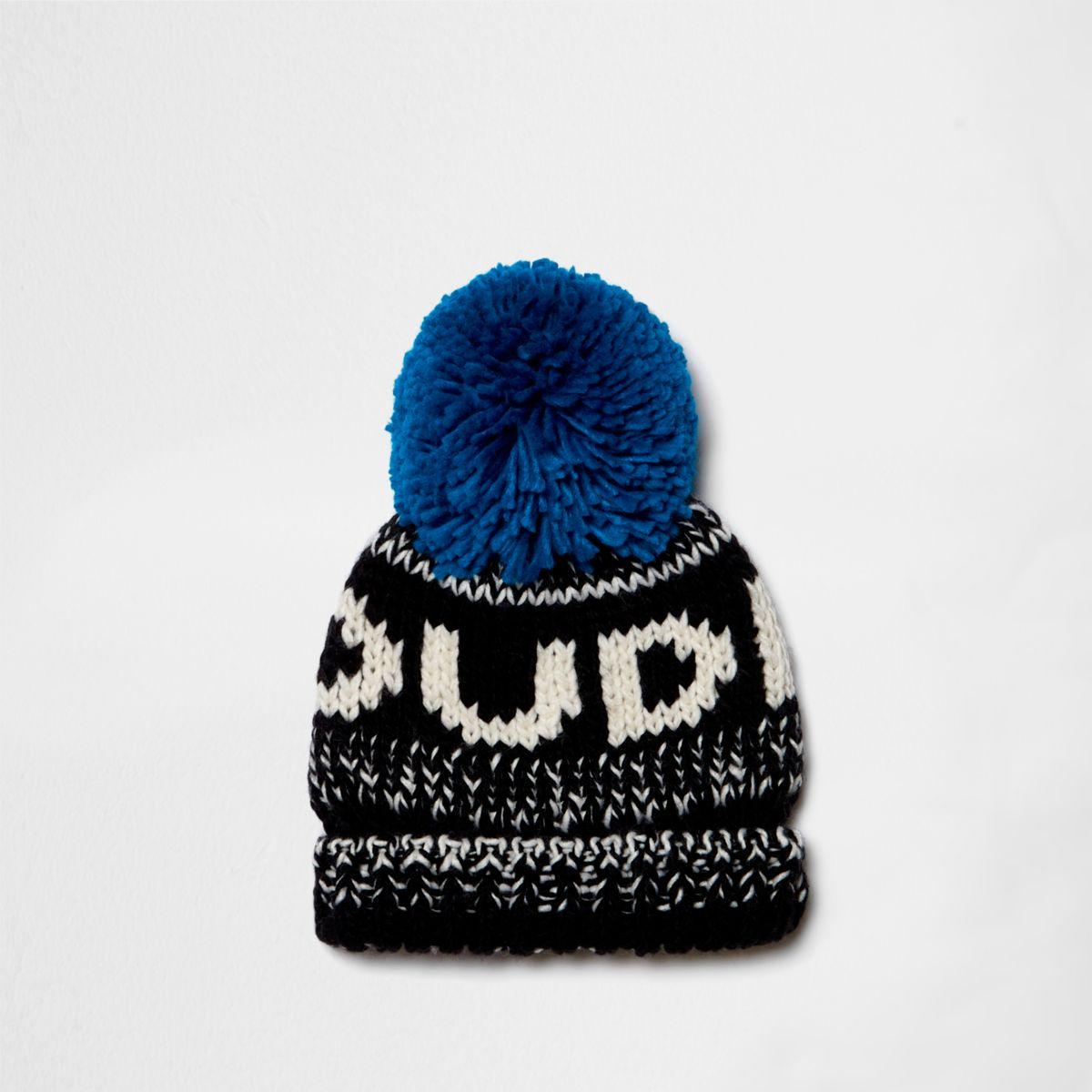 Mini boys blue 'dude' bobble beanie hat