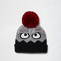 Mini boys grey pom pom monster beanie hat