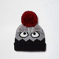 Bonnet gris avec pompon motif monstre mini garçon