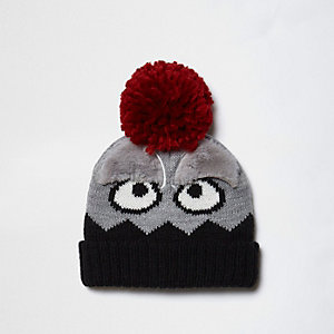 Mini - Grijze beanie-muts met pompon en monsterprint