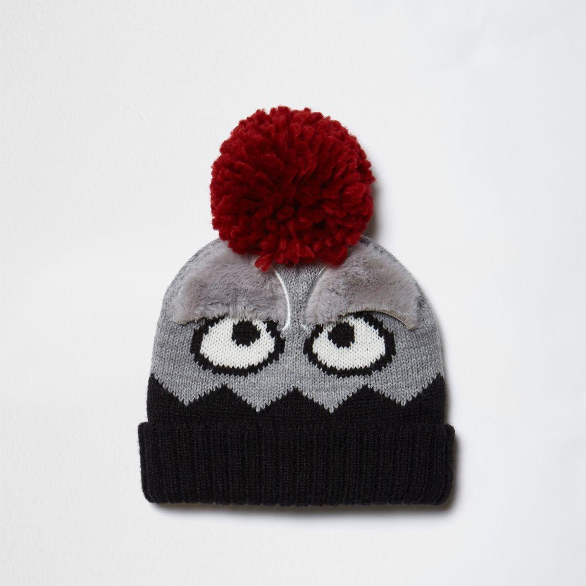 Mini boys grey bobble monster beanie hat