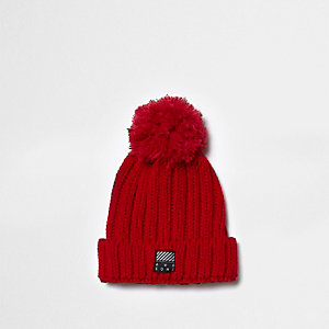 Boys red chunky rib knit bobble beanie hat