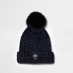 Boys teal chunky rib knit bobble beanie hat