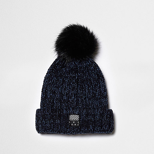 Boys teal chunky rib knit pom pom beanie hat