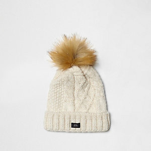 Boys cream cable knit pom pom beanie hat