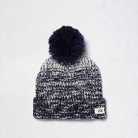 Boys navy ombre knit pom pom beanie hat