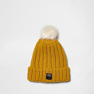 Boys yellow rib knit pom pom beanie hat