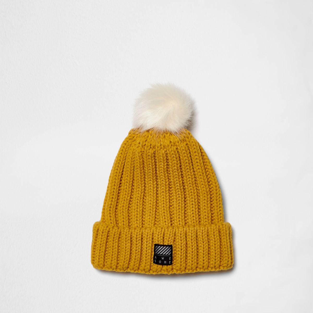 Boys yellow rib knit bobble beanie hat