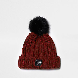 Boys rust red rib knit bobble beanie hat