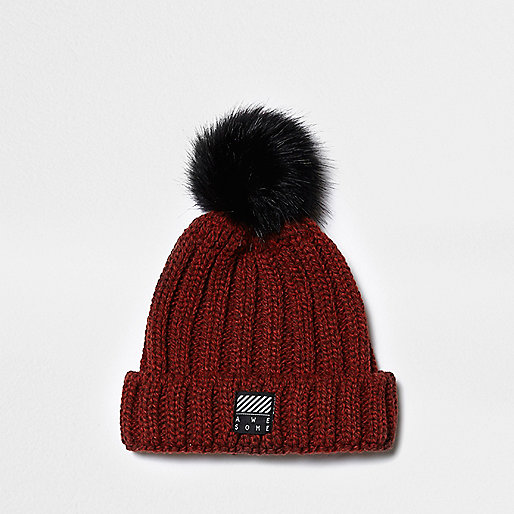Boys rust red rib knit pom pom beanie hat