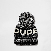 Boys black knit 'dude' bobble beanie hat
