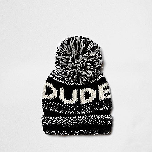 Boys black knit 'dude' bobble beanie hat